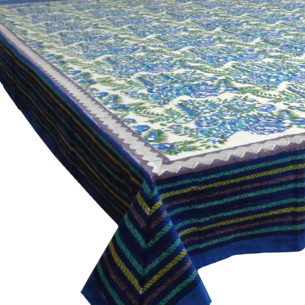 Hand Block Printed Cotton Tablecloth 150x220 | Sea Plantation Open 8495
