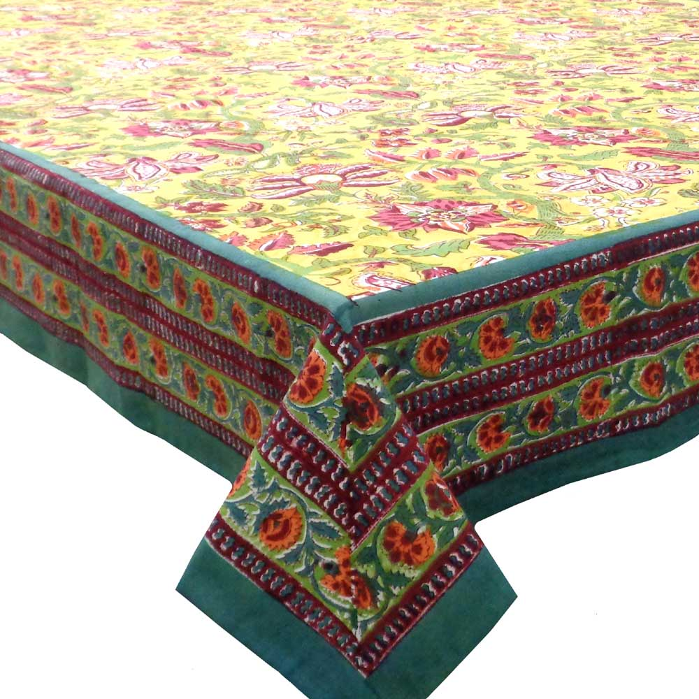 Tablecloth 8 seater in Cotton Hand Block Printed Cotton Tablecloth 180x340 | Anarkali Lime 102365