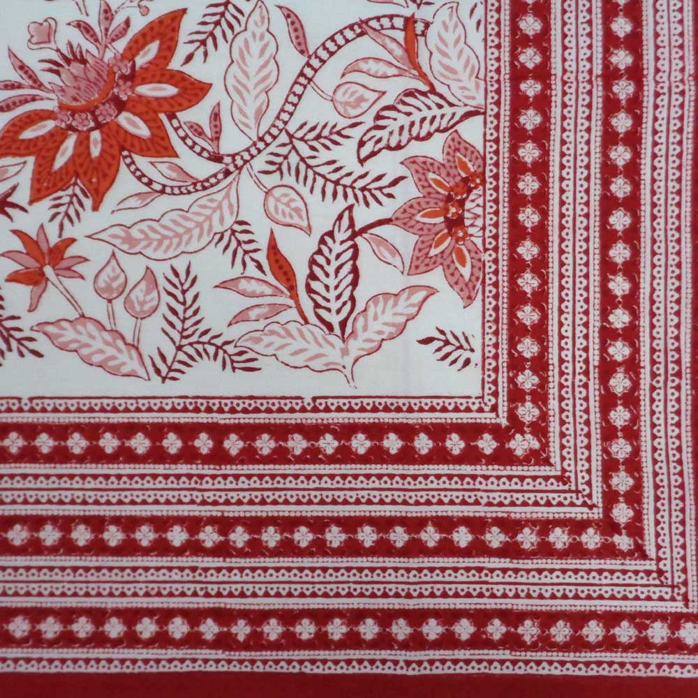 Hand Block Printed Cotton Tablecloth 180x270 cms | Bossanova Red Open 103700