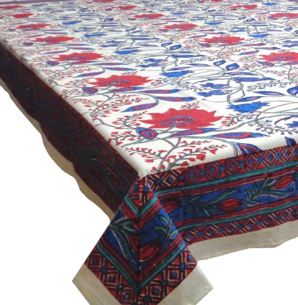 Hand Block Printed Cotton Tablecloth 180x270 | Flower Bird 9224