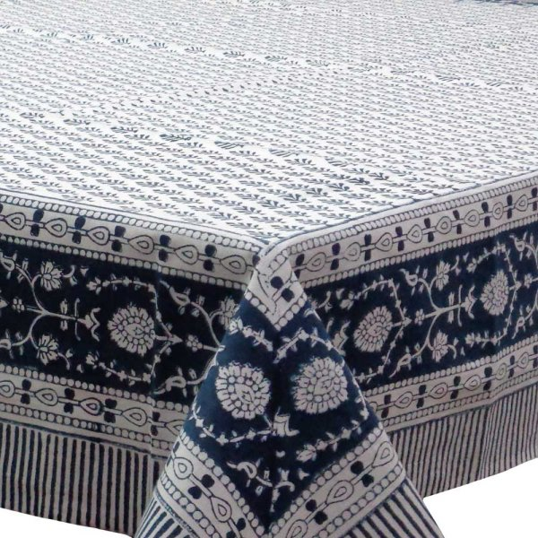 Hand Block Printed Cotton Tablecloth 150x220 cms | Neem Majolika Blue 104322