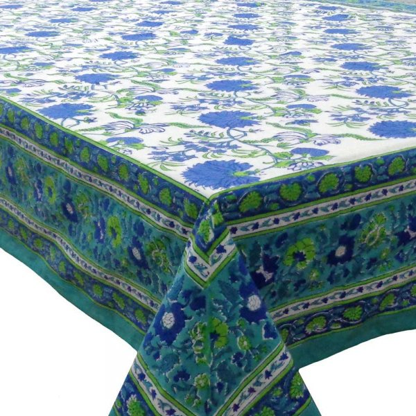 Tablecloth 8 seater in Cotton Hand Block Printed Cotton Tablecloth 180x340 cms | Flower Blossom Sea Green Open 105825