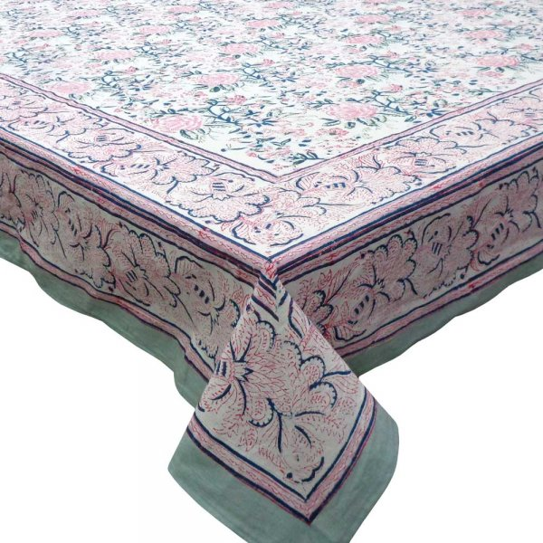 Tablecloth 8 seater in Cotton Hand Block Printed Cotton Tablecloth 180x340 cms | Naya Gulab Open 105196