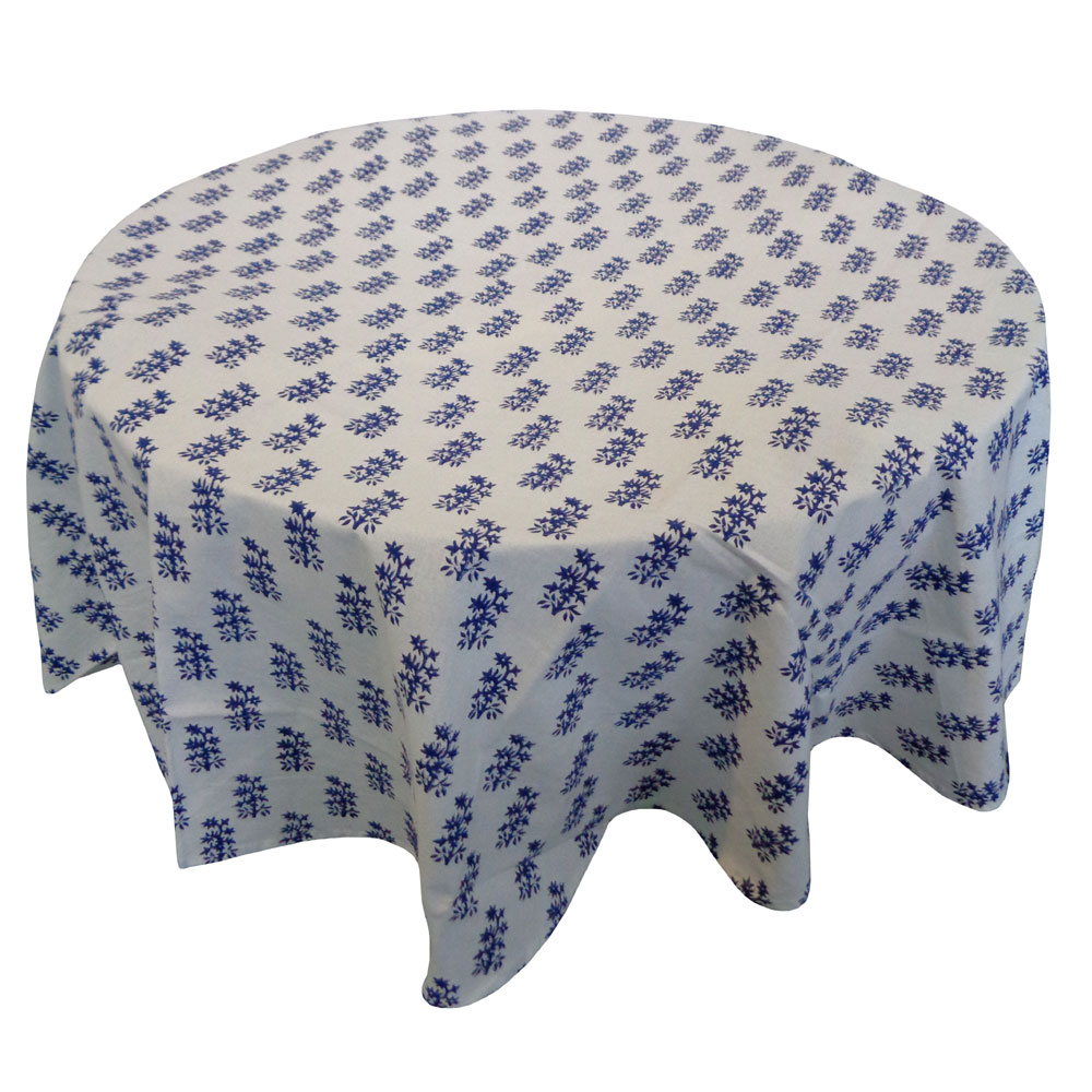 Hand Block Printed Cotton Round Tablecloth 150 cm | Booti Blue 105027