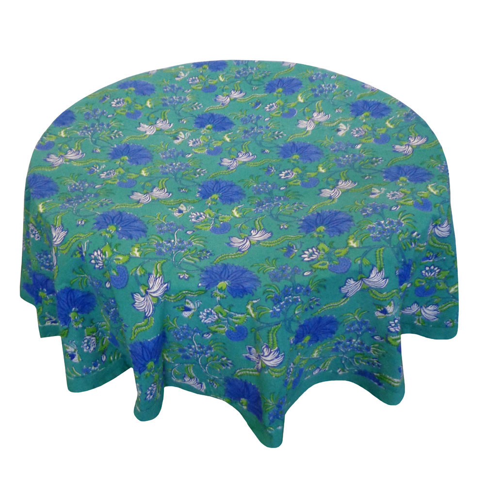 Hand Block Printed Cotton Round Tablecloth 180 cms | Flower Blossom Sea Green Gud 106040