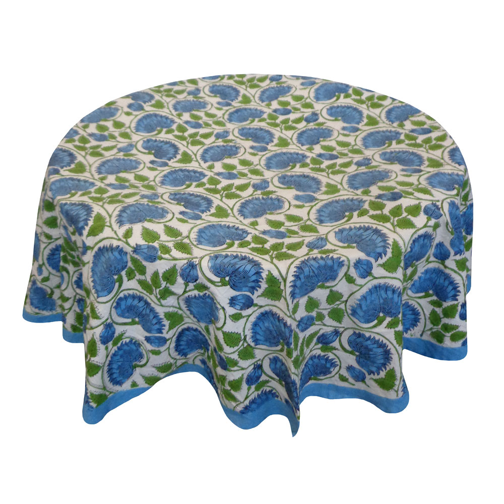 Hand Block Printed Cotton Round Tablecloth 180 cms | Kamal Aqua Open 106050
