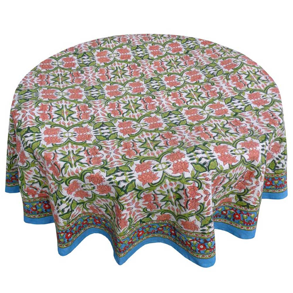 Hand Block Printed Cotton Round Tablecloth 275 cms | Lotus Green Open 204814