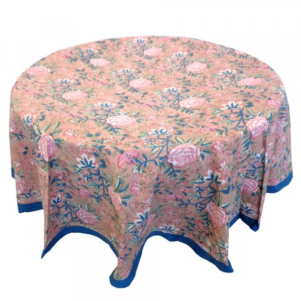 Hand Block Printed Cotton Round Tablecloth 220 cm | Misty Rose Gud 103811