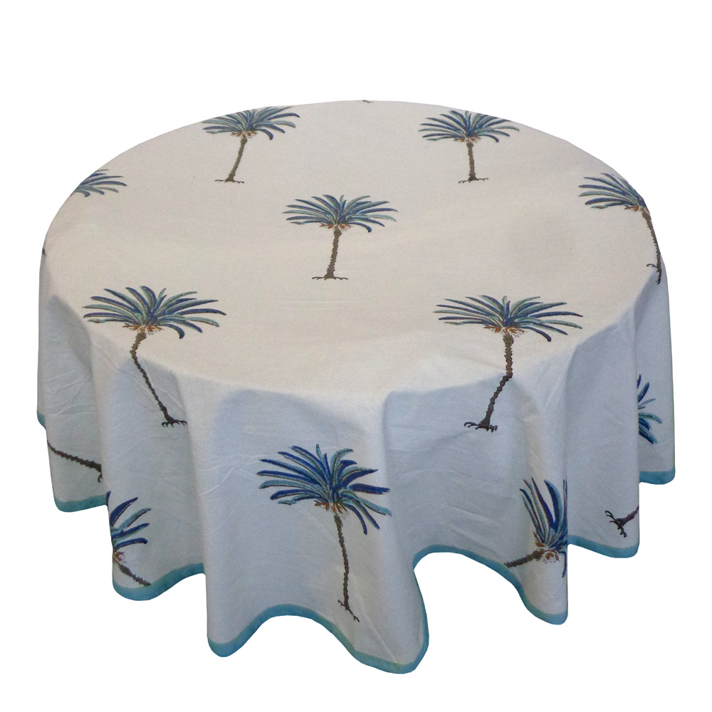 Hand Block Printed Cotton Round Tablecloth 180 cms | Palm Tree Blue 105203