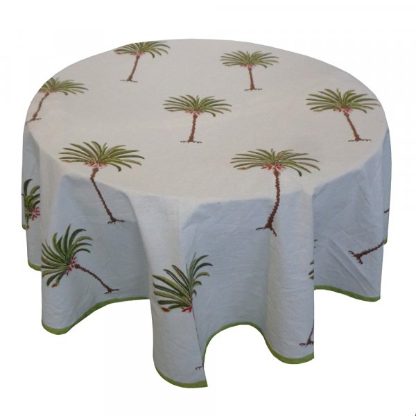Hand Block Printed Cotton Round Tablecloth 180 cms | Palm Tree Green 105208