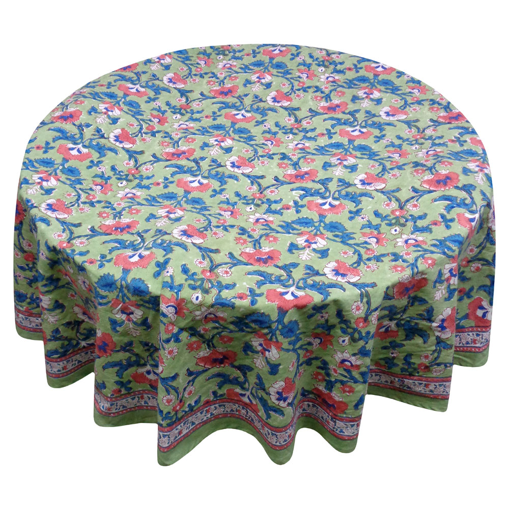 Hand Block Printed Cotton Round Tablecloth 275 cms | Rukhsana Jade Gud 204318