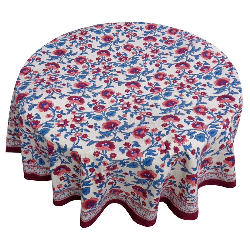Hand Block Printed Cotton Round Tablecloth 150 cms | Rukhsana Maroon Open 105936