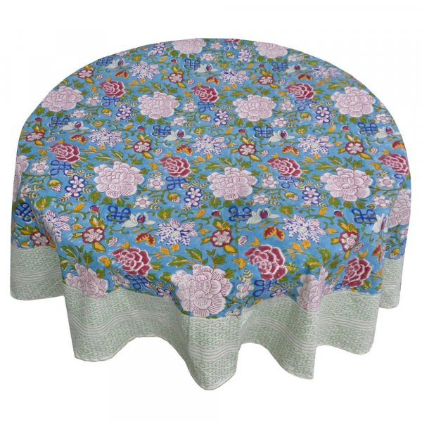 Hand Block Printed Cotton Round Tablecloth 180 cms | Floral Canvas Blue Jade Gud 204988