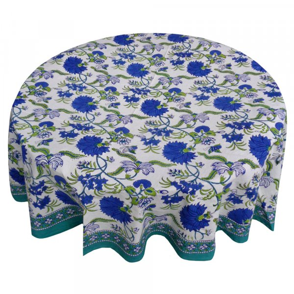 Hand Block Printed Cotton Round Tablecloth 180 cms | Flower Blossom Sea Green Open 106035