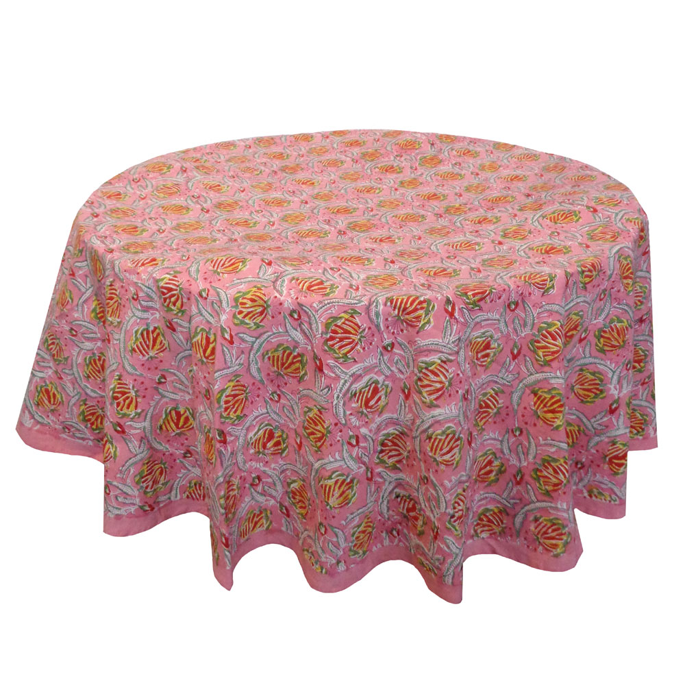 Hand Block Printed Cotton Round Tablecloth 220 cm | Frost Pink Floral 102394