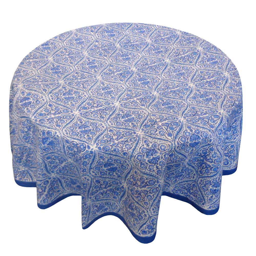 Hand Block Printed Cotton Round Tablecloth 150 cms | Nili Phool Chokri 106143