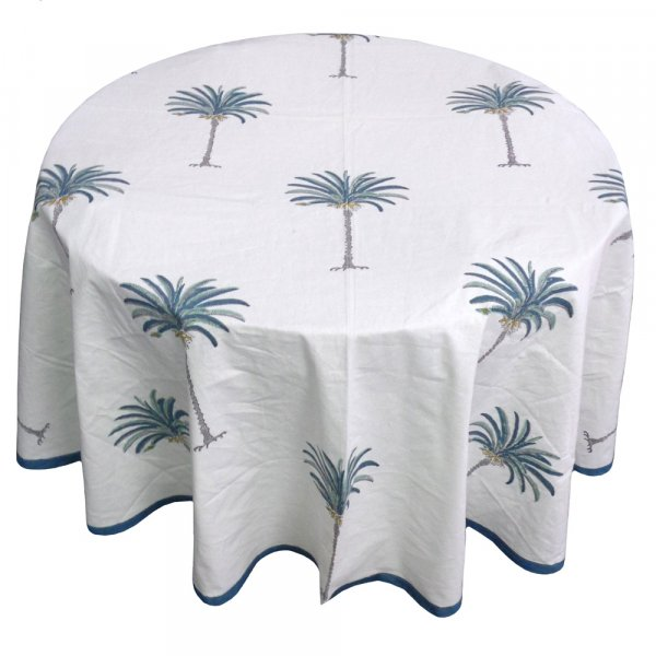 Hand Block Printed Cotton Round Tablecloth 150 cms | Palm Tree Blue 105203