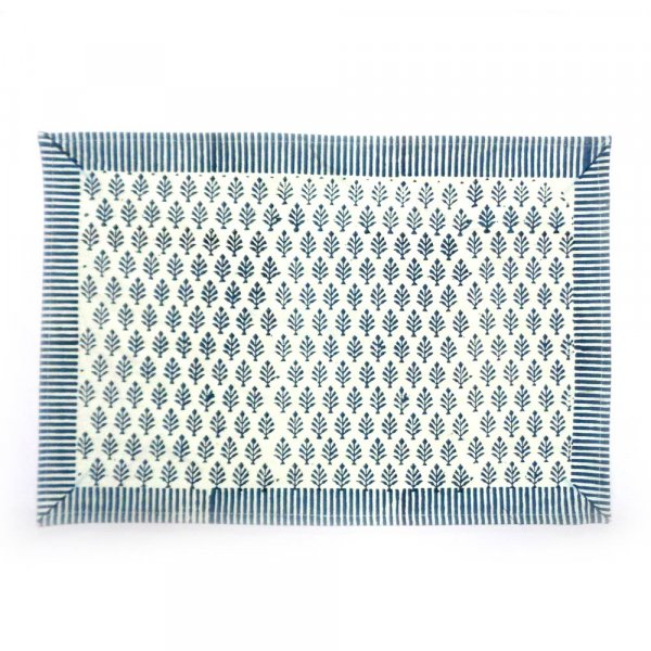 Tablemat Neem Majolika Blue 105087 Hand Block Printed on Cotton Canvas | Set of 2 Table mats