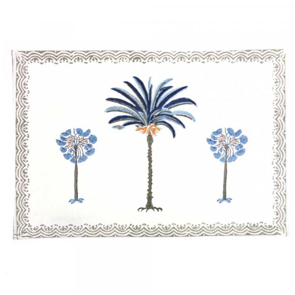 Tablemat Palm Tree Blue 102060 Hand Block Printed on Cotton Canvas | Set of 2 Table mats