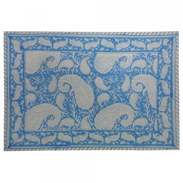 Hand Block Printed Cotton Canvas Table Mat 32x48 cms (Set of 2 Table mats) | Ambi Neel Aqua Gud 204668
