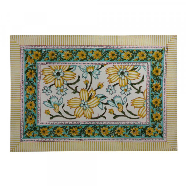 Hand Block Printed Cotton Canvas Table Mat 32x48 cms (Set of 2 Table mats) | Champa Kali 204666