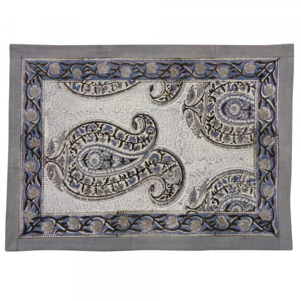 Hand Block Printed Cotton Canvas Table Mat 32x48 cms (Set of 2 Table mats) | Big Paisley Brown 200021