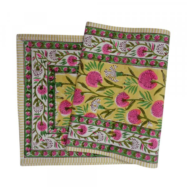 Hand Block Printed Cotton Canvas Table Runner 33x120 cms | Desert Blossom Pink Gud 205225