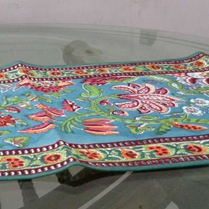 ANARKALI GREEN 4614 Size 35 x 180 cms Table Runner Cotton Canvas Hand Block Printed
