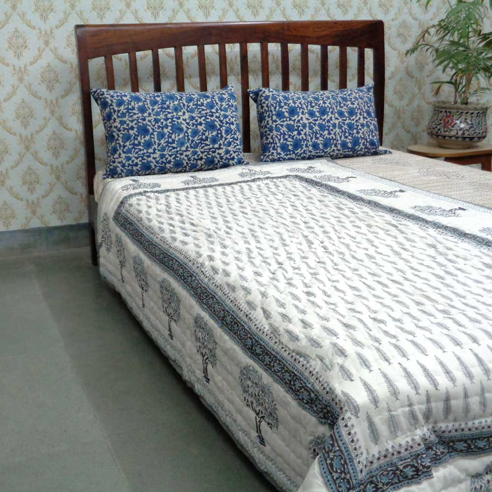 Hand  Block Printed Cotton Twin Size Quilt | Winter Fall Tree 106939