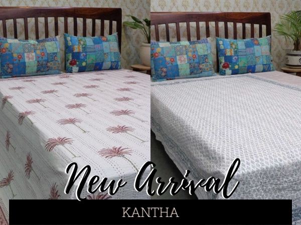 Hand Quilted King Size New Indian Jaipuri Quilt Block printed Blanket Razai Filling Quilt Reversible Decorative Quilt